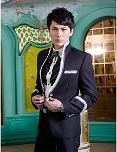 Tuxedos Slim Fit Mandarin Collar Single Breasted One-button Polyester Solid