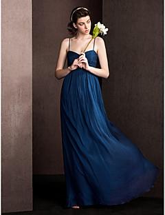 billiga Aftonklänningar-mantelband / spaghettibandband golvlängd silke brudtärna klänning med drapering criss cross av lan ting bride®