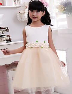 billige Skjørt-Ball kjole te lengde blomst jente kjole - bomull ermeløs juvel hals med applikasjon