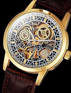 Pánské Náramkové hodinky mechanické hodinky S dutým gravírováním Automatické natahování Kůže Kapela Luxusní Hnědá