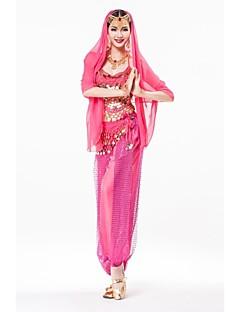 Žene-Outfits- zaTrbušni ples Seksi blagdanski kostimi(Kao slici,Šifon Šljokičasti,Zlatnika Šljokice)