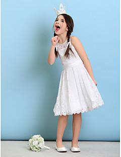 baratos Roupas Infantis para Casamentos-Linha A Princesa Decorado com Bijuteria Até os Joelhos Renda Vestido de Daminha de Honra com Faixa / Fita de LAN TING BRIDE®