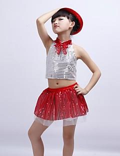 billige Tøjsæt til piger-Tøjsæt Jacquard Vævning Vinter Forår Efterår Uden ærmer Gul Rosa Rød