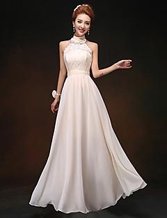 cheap Bridesmaid Dresses-Sheath / Column High Neck Floor Length Chiffon Lace Bodice Bridesmaid Dress with Sash / Ribbon Pleats by LAN TING Express