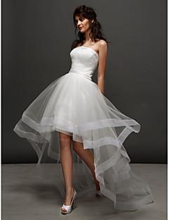 billiga Balbrudklänningar-Prinsessa Axelbandslös Asymmetrisk Tyll Bröllopsklänningar tillverkade med Bård / Veckad av LAN TING BRIDE® / Liten vit klänning