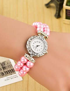 Women's Round Dial Pearl Double Row Leather  Band Quartz Analog  Braceiet Watch(Assorted Color) Cool Watches Unique Watches