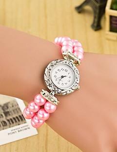 billige Armbåndsure-Dame Quartz Armbåndsur Hot Salg Læder Bånd Perler Mangefarvet