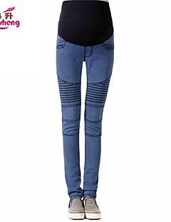 baratos Ponta de Estoque-Mulheres Gravidez Micro-Elástica Jeans Calças, Algodão Poliéster Outros Outono