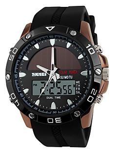 billige Digitalure-SKMEI Herre Digital Digital Watch Sportsur Kronograf Solar Dobbelte Tidszoner Silikone Bånd Luksus Sort