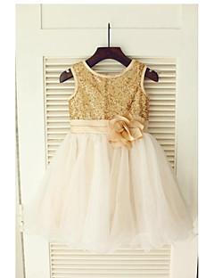 aラインの茶色の長さの花の女の子のドレス - thstyleeによる花とチュールのスパンコールの袖なしの宝石の首