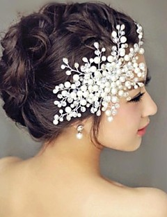 baratos Vestidos de Festa & Acessórios-Pele de pérolas penteado festa de noiva estilo feminino elegante