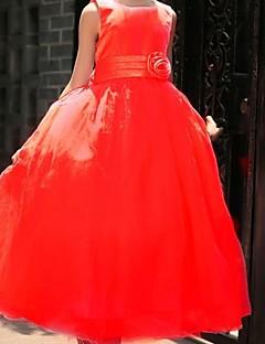 tanie Sukienki dla dziewczynek z kwiatami-Balowa Księżniczka Lekko nad kolana Sukienka dla dziewczynki z kwiatami - Satyna Bez rękawów Wycięcie z Koronka Przewiązka / Wstążka