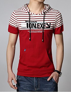 Men's Fashion Casual Striped Short Sleeve Hoodie T-Shirts