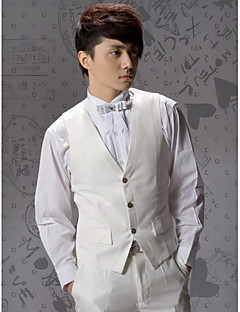 Ivory Solid Cotton Tailored Fit Suit Vest Single Breasted Three-buttons