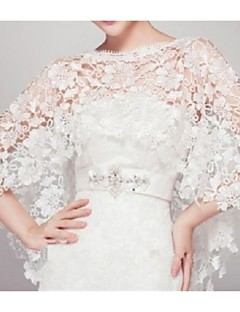 cheap Wedding Wraps-Sleeveless Lace Wedding Party Evening Wedding  Wraps With Lace Capelets