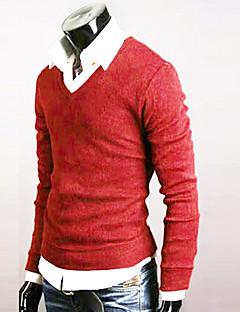 tanie Męskie swetry i swetry rozpinane-Męski - Pulower - Na co dzień/Do biura/Formalna/Sport - Normalny - Długi rękaw - Gładki/a