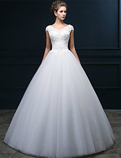 A-Line V-neck Floor Length Tulle Wedding Dress with Beading Pearl Appliques Criss-Cross by QQC Bridal