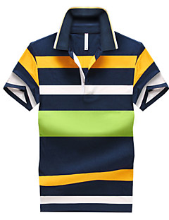 Men's Daily Sports Plus Size Casual Summer Polo,Striped Shirt Collar Short Sleeves Cotton