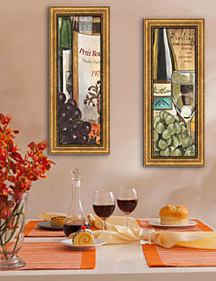 Fantasi / Mad/ Drikke Indrammet Lærred / Indrammet Sæt Wall Art,PVC Gylden Ingen Måtte med Frame Wall Art