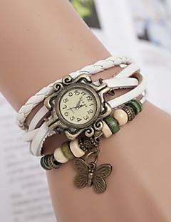 billige Armbåndsure-yoonheel Dame Quartz Armbåndsur Afslappet Ur Læder Bånd Sommerfugl Bohemisk Mode Sort Hvid Brun