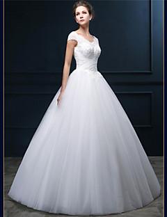 billiga A-linjeformade brudklänningar-A-linje V-hals Golvlång Tyll Bröllopsklänningar tillverkade med Bård / Pärla / Applikationsbroderi av LAN TING Express / Glittra och gläns