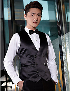 Black Solid Cotton Tailored Fit Suit Vest Double Breasted Six-buttons