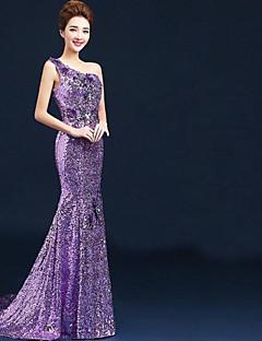 ball kjole en skulder gulv lengde fløyel chiffon formell kveldskjole med appliques pailletter