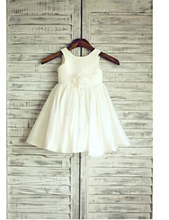 aラインの茶色の長さの花の女の子のドレス - thstyleeによるリボンとタフタのノースリーブの宝石の首