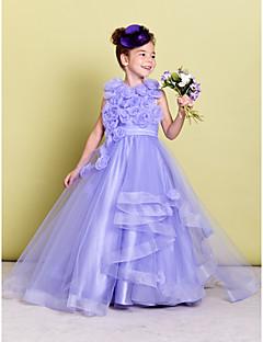 tanie Sukienki dla dziewczynek z kwiatami-Krój A Tren sweep Sukienka dla dziewczynki z kwiatami - Organza Bez rękawów Zaokrąglony z Kwiat Marszczenia przez LAN TING BRIDE®