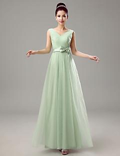 シース/コラムVネックの床の長さシフォンの花嫁介添人のドレスとクリスタルdetailingby yaying