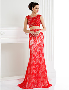 Mermaid / Trumpet / Two Piece Scoop Neck Sweep / Brush Train Lace High Low / Two Piece Formal Evening Dress with Beading / Appliques / Lace by