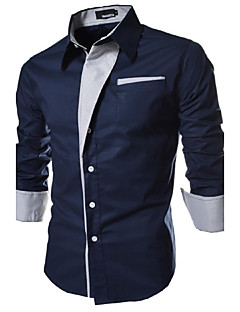 Men's Casual/Daily Plus Size Simple Spring Fall Shirt,Color Block Classic Collar Long Sleeves Cotton