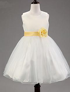 A-line ברך אורך פרח ילדה שמלה - כותנה פוליאסטר tulle ללא שרוולים צוואר צוואר עם פרח על ידי ydn