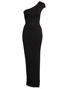 Bayanlar Splandeks/Polyester Maksi Kolsuz Düşük Yaka Arkasız Bayanlar Elbise