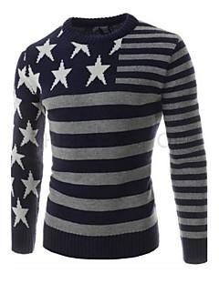 tanie Męskie swetry i swetry rozpinane-Normalny Pulower Męskie Wyjściowe Codzienne Praca Klubowa Prosta Urocza Moda miejska Wielokolorowa,Okrągły dekolt Długi rękawWełna