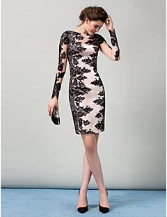 Sheath Column Boat Neck Knee Length Stretch Satin Lace Over Tail Party Dress With Ons Insert By Ts Couture Illusion Sleeve