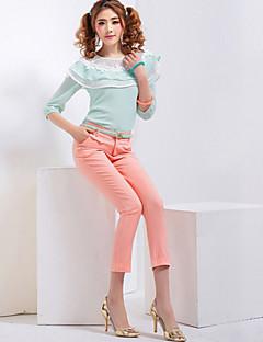 abordables -Femme Taille Normale Micro-élastique Droite Pantalon,Coton Toutes les Saisons Couleur Pleine
