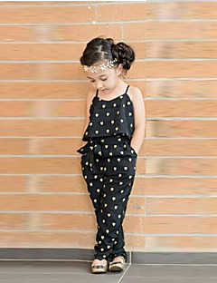 cheap Girls' Clothing-Girls' Overall & Jumpsuit Summer Sleeveless Floral Black