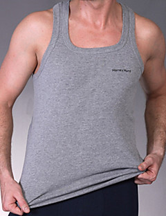 Men's Casual Pure Sleeveless Regular Vest (Cotton)