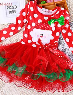 Girl's Summer/Winter/Spring/Fall Micro-elastic Medium Long Sleeve Christmas Dress (Cotton/Mesh/Polyester)