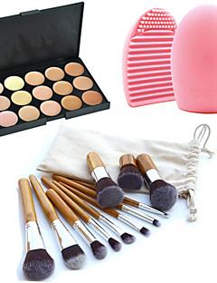 11pcs makeup kosmetiske øjenbryn fundament kabuki pensler kits + 15 farver concealer makeup palet + pensel rengøring værktøj