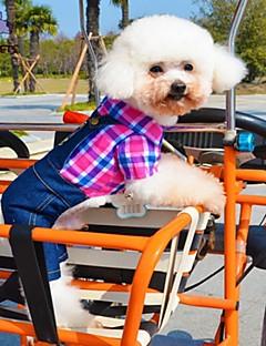 billiga Hundkläder-Katt / Hund T-shirt / Byxor Hundkläder Pläd / Rutig / Jeans Ros / Grön / Blå Cotton Kostym För husdjur Cosplay / Bröllop
