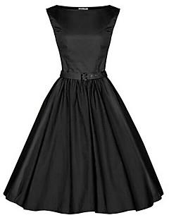 Bayanlar Pamuklu / Diğer Diz-boyu Kolsuz Yuvarlak Yaka Bayanlar Elbise