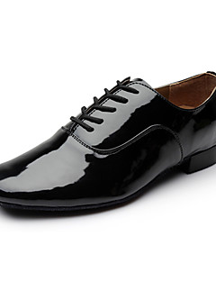 cheap -Men's Modern Shoes / Ballroom Shoes Leatherette Heel Lace-up Low Heel Non Customizable Dance Shoes Black / White