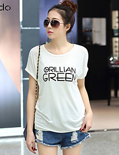 Daily Casual Summer T-shirt,Print Round Neck Short Sleeves Cotton Thin