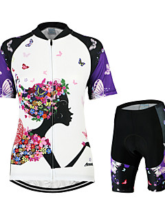 cheap Cycling Jersey & Shorts / Pants Sets-Arsuxeo Women's Short Sleeves Cycling Jersey with Shorts - White/Black Floral / Botanical Bike Clothing Suits, 3D Pad, Quick Dry,