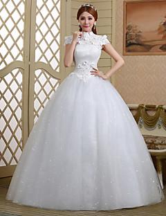 billiga Brudklänningar-Balklänning Hög hals Golvlång Spets / Tyll Bröllopsklänningar tillverkade med Kristall / Paljett / Blomma av