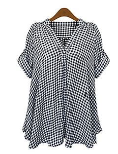 ieftine Chic Shirts-Femei V Adânc Cămașă Casul/Zilnic Simplu(ă),Carouri Manșon scurt Toamnă-Negru Poliester