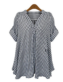 Women's Vinga Sexy Casual Work Deep V  Short Sleeve Shirt , Polyester