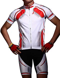 billige Sykkelklær-Acacia Kortermet Sykkeljersey med shorts - Rød Blå Sykkel Shorts Jersey Klessett, Anatomisk design, Pustende